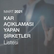 Kar Açıklaması Yapan Şirketler Listesi [Mart 2021]