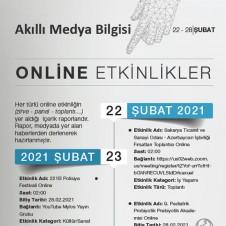 ONLİNE ETKİNLİKLER (22-28 ŞUBAT 2021)